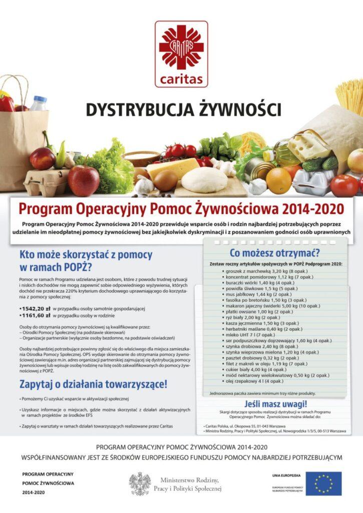Plakat informacyjny Caritas - Program Operacyjny Pomoc Żywnościowa 2014-2020