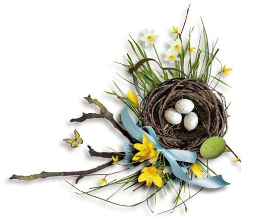 Grafika przedstawia wiosenną kompozycję świąteczną. Gniazdo z jajkami otoczone bukietami kwiatów.